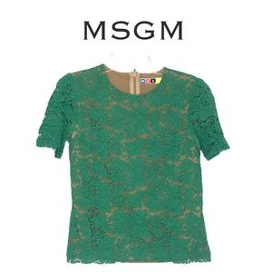 MSGM Made in Italy Green Lace Top